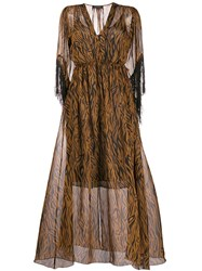 Antonelli All Over Print Dress Brown