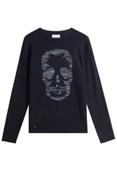 Zadig And Voltaire Printed Cashmere Pullover Blue