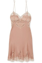 Carine Gilson Egerie Chantilly Lace Trimmed Silk Satin Nightdress Antique Rose