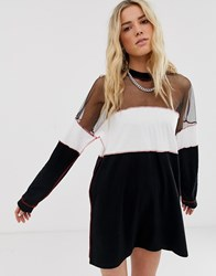 The Ragged Priest T Shirt Dress With Sheer Panel And Contrast Stitching Black