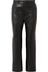 Acne Studios Lacy Cropped Leather Straight Leg Pants Black