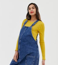 New Look Maternity Buckle Pinny Dress In Mid Blue