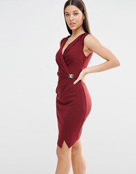 Lipsy Michelle Keegan Loves Wrap Front Dress Red