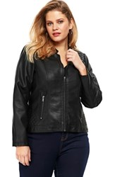 Evans Plus Size Faux Leather Biker Jacket Black