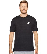 Nike Sportswear Advance 15 Short Sleeve Knit Top Black Heather White Men's Clothing