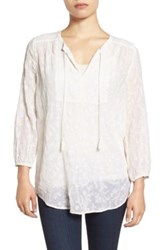 Lucky Brand Embroidered Split Neck Blouse White