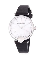 Bruno Magli Diamond And Stainless Steel Leather Strap Watch Silver