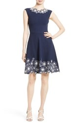 Milly Women's Embroidered Knit Fit And Flare Dress