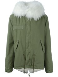 Mr And Mrs Italy Fox Raccoon Fur Lined Jacket Green