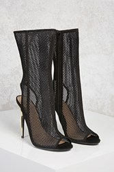 Forever 21 Mesh Knit Stiletto Boots Black
