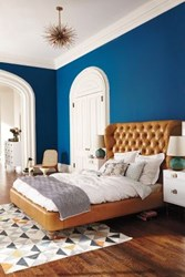 Anthropologie Premium Leather Tufted Wingback Bed Lager