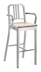 Emeco Navy Barstool With Arms And Natural Wood Seat Gray