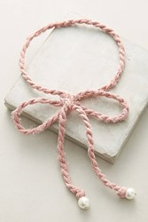 Anthropologie Braided Bow Choker Necklace Rose