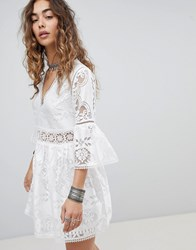 Kiss The Sky Lace And Jaquard Dress White