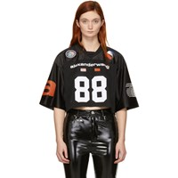 Alexander Wang Black Jersey Athletic Cropped T Shirt
