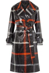 Marc Jacobs Checked Coated Cotton Trench Coat Charcoal