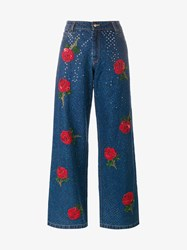 Ashish Rose Embroidered Sequin Jeans Blue