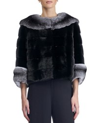 Gorski Horizontal Short Nap Mink Jacket With Chinchilla Collar And Cuff Black