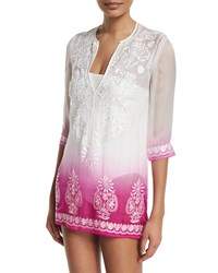 Marie France Van Damme Embroidered Front Ombre Short Tunic Coverup Rose Dip Dye