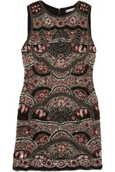 Alice Olivia Sherley Embellished Silk Chiffon Mini Dress Black