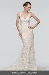 Watters Women's 'Georgia' Back Cutout Lace Trumpet Gown