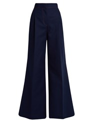 Msgm Contrast Stitch Wide Leg Trousers Navy