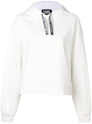 Karl Lagerfeld Fabric Mix Hoodie White
