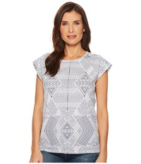 Tribal Printed Jersey Cap Sleeve Top With Back Slit Detail Grey T Shirt Gray