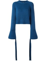 Ellery Flared Sleeve Cropped Jumper Blue