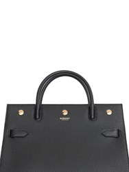 Burberry Md Title Grained Leather Top Handle Bag Black