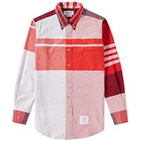 Thom Browne Oversized Plaid Oxford Shirt Red