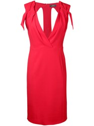 Capucci V Neck Fitted Dress Red