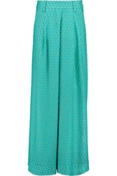 Missoni Pleated Crochet Knit Wide Leg Pants Turquoise