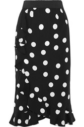 Dolce And Gabbana Ruffled Polka Dot Stretch Silk Charmeuse Skirt Black
