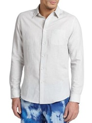 Onia Linen And Cotton Sportshirt Blue Alloy White Light Grey
