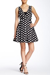 Gracia Polka Dot Sleeveless Dress Black