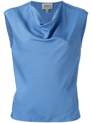 Armani Collezioni Draped Neck Top Blue