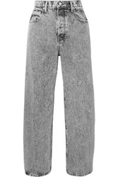 Alexander Wang Curb Cropped Acid Wash High Rise Straight Leg Jeans Light Gray