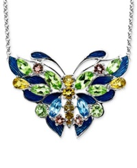 Town And Country Sterling Silver Necklace Multistone Butterfly Pendant 3 5 24 Ct. T.W.