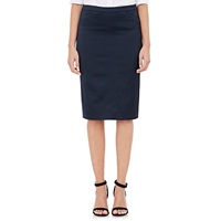 Satin Tuxedo Pencil Skirt Navy