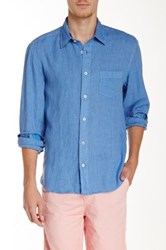 Benson New York Solid Linen Relaxed Fit Long Sleeve Shirt Blue