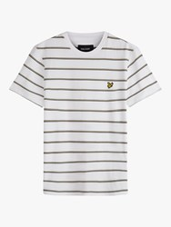 Lyle And Scott Stripe Crew Neck T Shirt White