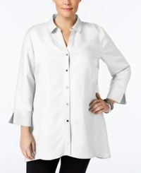 Jm Collection Plus Size Linen Tunic Shirt Only At Macy's Bright White