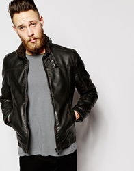 Barney's Barneys Faux Leather Biker Jacket Brown