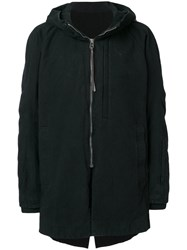 Devoa Hooded Coat Cotton Polyester Wool Iv Black