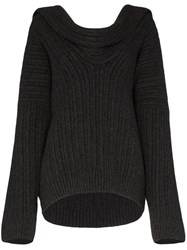 Jacquemus Draped Knitted Jumper Grey