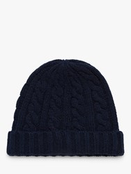 Brora Cashmere Cable Knit Hat Blue Navy