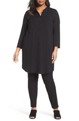 Eileen Fisher Plus Size Women's Jersey Mandarin Collar Tunic Black