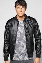Boohoo Over Pu Varsity Jacket With Sports Rib Black