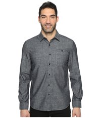 Kenneth Cole Long Sleeve Button Down Collar Solid Flannel Indigo Combo 1 Men's Long Sleeve Button Up Gray